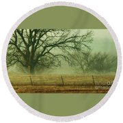 Early Morning Fog 019 Round Beach Towel