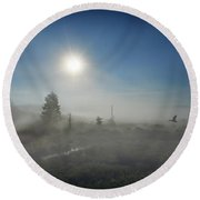 Early Morning Fog At Canaan Valley Round Beach Towel