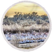 Early Morning Frost Round Beach Towel