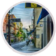 Early Morning In French Quarter Nola Round Beach Towel
