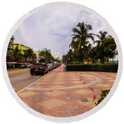 Early Morning In Miami Beach Round Beach Towel