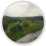 Early Morning In The Countryside Of Quebec Round Beach Towel