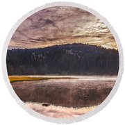 Early Morning Lake Light Round Beach Towel by Robert Bales
