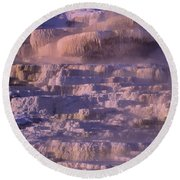Early Morning Light On Minerva Springs Yellowstone National Park Round Beach Towel