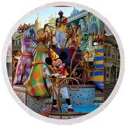 Early Morning Main Street With Mickey Walt Disney World 3 Panel Composite Round Beach Towel
