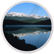 Early Morning Mountain Reflection Round Beach Towel