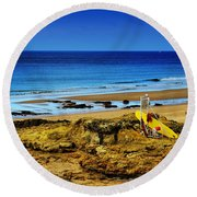 Early Morning On The Beach Round Beach Towel