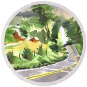 Early Morning Out Route Jj Round Beach Towel