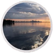 Early Morning Reflections - Lake Ontario And Downtown Toronto Skyline  Round Beach Towel