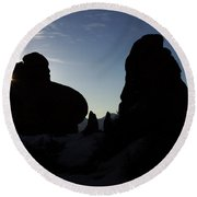Early Morning Silhouette Round Beach Towel
