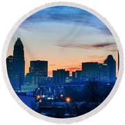 Early Morning Sunrise Over Charlotte City Skyline Downtown Round Beach Towel