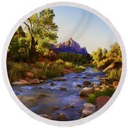 Early Morning Sunrise Zion N.p. Round Beach Towel