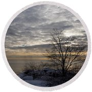 Early Morning Tree Silhouette On Silver Sky Round Beach Towel