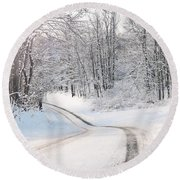 Early Morning Winter Road Round Beach Towel