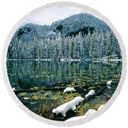 Early Snow At Nymph Lake Round Beach Towel