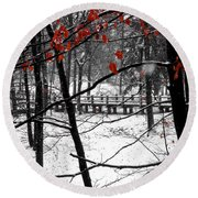Early Snow 4 Round Beach Towel