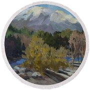 Early Snow Cascade Mountains Round Beach Towel