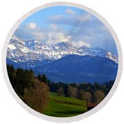 Early Snow In The Swiss Mountains Round Beach Towel