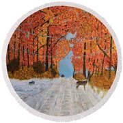 Early Snow Round Beach Towel