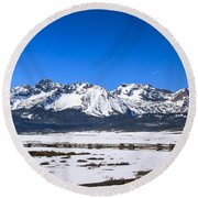 Early Spring In The Sawtooth Round Beach Towel