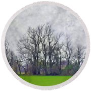 Early Spring Landscape  Digital Paint Round Beach Towel