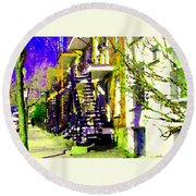 Early Spring Stroll City Streets With Spiral Staircases Art Of Montreal Street Scenes Carole Spandau Round Beach Towel