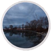 Early Still And Transparent - On The Shores Of Lake Ontario In Toronto Round Beach Towel