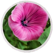 Early Summer Blooms Impressions - Bright Pink Malva - Vertical View Round Beach Towel