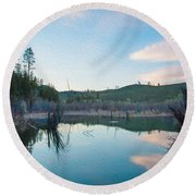 Early Sunset On A Beaver Pond  Round Beach Towel