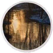Early Winter Morning Round Beach Towel