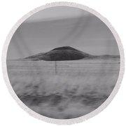 Earth And Sky Black And White Round Beach Towel