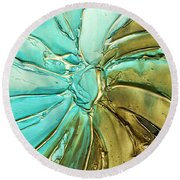 Aqua Teal Brown Organic Abstract Art Round Beach Towel