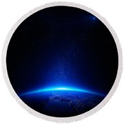 Earth At Night With City Lights Round Beach Towel