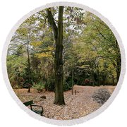 Earth Day Special - Bench In The Park Round Beach Towel