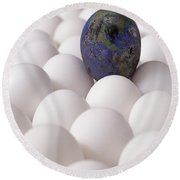 Earth Egg Pollution Round Beach Towel