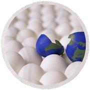 Earth Egg Torn Apart Round Beach Towel