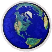 Earth From Space America Round Beach Towel