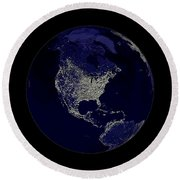 Earth Globe Lights Round Beach Towel