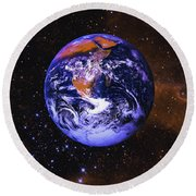 Earth In Space With Gaseous Nebula And Round Beach Towel