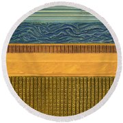 Earth Layers Abstract L Round Beach Towel