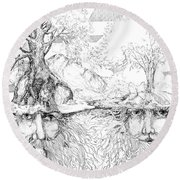 Earth People Round Beach Towel