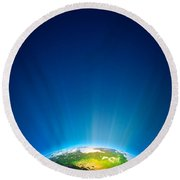 Earth Radiant Light Series - North America Round Beach Towel
