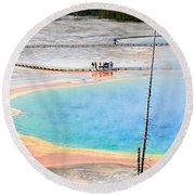 Earth Rainbow - Overhead View Of Grand Prismatic Spring In Yellowstone National Park.  Round Beach Towel