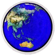 Earth Seen From Space Australia And Azia Round Beach Towel