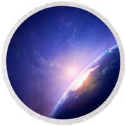 Earth Sunrise In Foggy Space Round Beach Towel