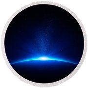 Earth Sunrise In Space Round Beach Towel