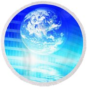 Earth Technology Background Round Beach Towel by Michal Bednarek