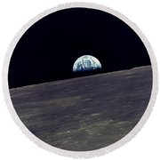 Earthrise Over The Moon Round Beach Towel
