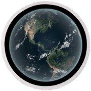 Earths Western Hemisphere With Rise Round Beach Towel