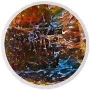 Earthy Abstract Round Beach Towel